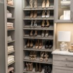 Closet with women's shoes and clothing on shelves.