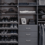 Focus on shoes and shirts on shelves, racks and in drawers