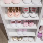 Girls shoes placed on shelves