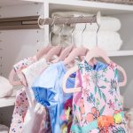 Girls clothing hung on clothing rack
