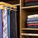 Reach in closet featuring tie rack