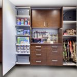 Garage Closet with Tools and Beverages on Shelves