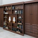 Folded up murphy bed with books on shelves