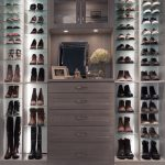 Closet with glass shelves for shoes
