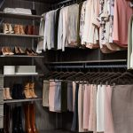 Inspired Closets Closet with Shoes on Shelves and Clothing on Racks in Corner