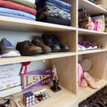 Wood Reach-In Closet wtih Shoe Storage and Shelves in Baton Rouge, LA