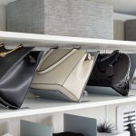 White Modern Purse Storage for Closet