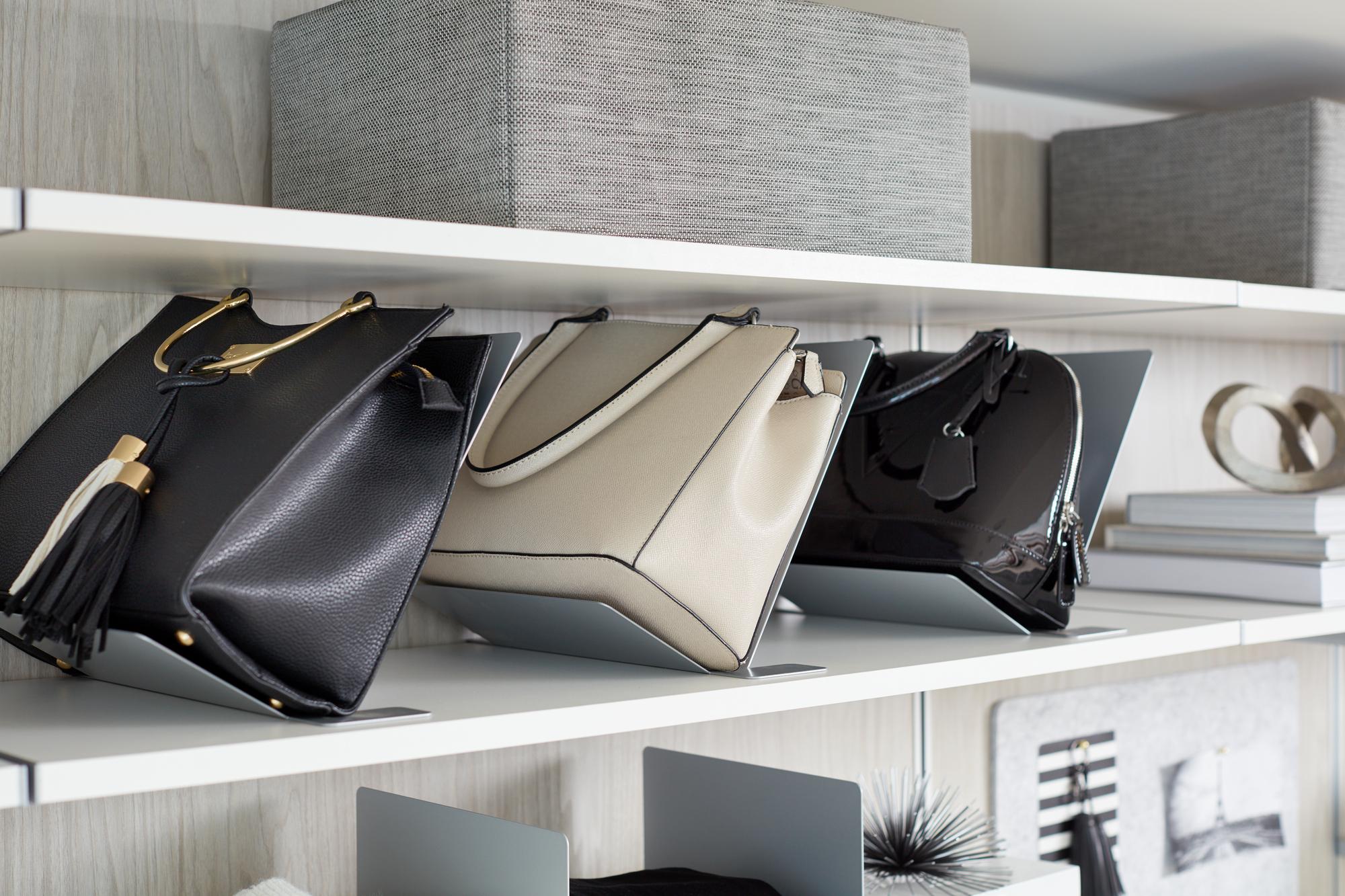 White Modern Purse Storage for Closet
