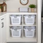 Custom floor mounted boutique laundry room storage with shelving storage
