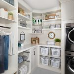 Custom floor mounted boutique laundry room storage