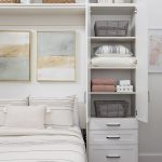 White Custom murphy bed with shelving with hutch and drawers from Inspired Closets