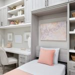 Custom home office storage with wall bed and shelving storage